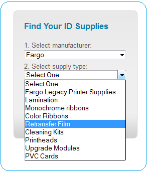 Manufacturer and Supply Type Combination Menu