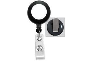 Black Badge Reel with White Sticker, Clear Vinyl Strap & Spring Clip