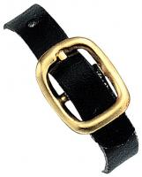 Black Genuine Leather Luggage Strap with Brass-Plated Buckle, 3 Holes