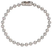 Nickel-Plated Steel Ball Chain, No 3 Bead Size