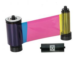YMCKO Full-color, resin black and overlay panel ribbon w/ cleaning roller, 500 cards/roll