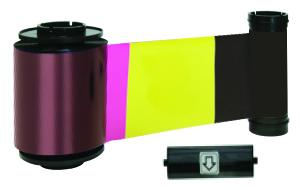 YMCKOK Full-color, two resin black and overlay panel ribbon w/ cleaning roller, 500 cards/roll