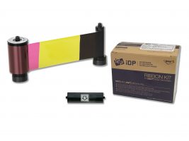YMCKOK Full-color, two resin black and overlay panel ribbon with cleaning roller, 200 cards/roll