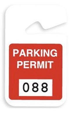Red Plastic Non-Expiring Parking Permit