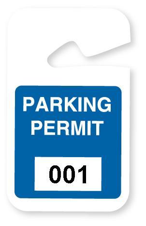 Blue Plastic Non-Expiring Parking Permit