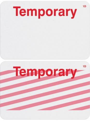 """1-Day Single-Piece Adhesive Expiring Badge (Handwritten) with Printed """"TEMPORARY"""""""