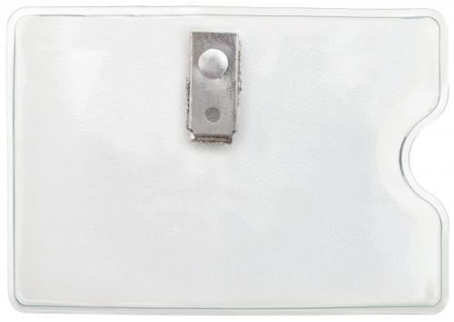 Orange Peel Texture Badge Holder with Clip, Horizontal Side Load