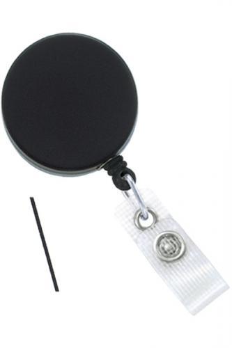 Black /Chrome Heavy-Duty badge Reel with Nylon Cord Reinforced Vinyl Strap