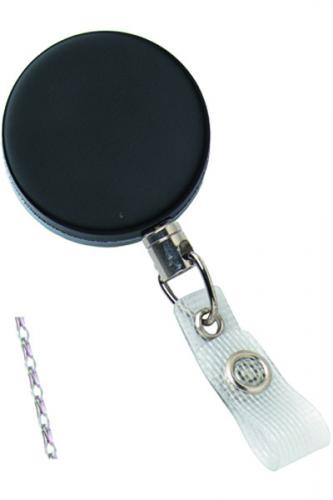 Black /Chrome Heavy-Duty badge Reel with Link Chain Reinforced Vinyl Strap