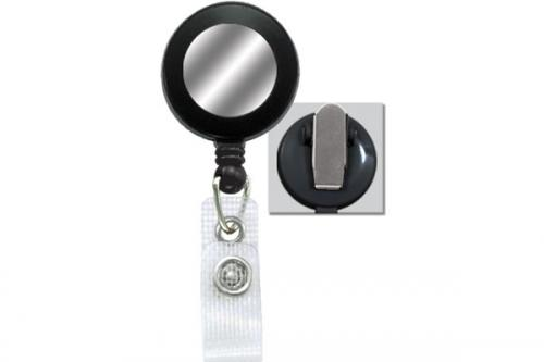 Badge Reel with Silver Sticker, Reinforced Vinyl Strap