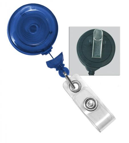 Translucent Blue Badge Reel with Clear Vinyl Strap