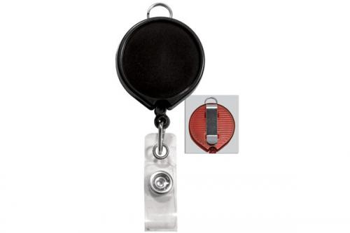 Badge Reel with Clear Vinyl Strap and Belt Clip