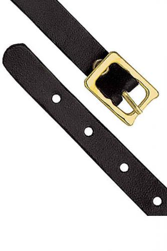 Black Genuine Leather Luggage Strap with Brass-Plated Buckle, 5 Holes
