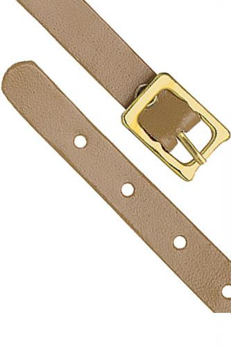 Tan Genuine Leather Luggage Strap with Brass-Plated Buckle, 5 Holes