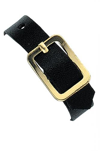 Black Genuine Leather Luggage Strap with Brass-Plated Buckle