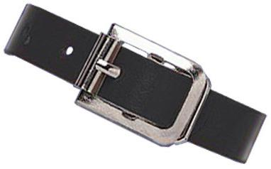 Black Genuine Leather Luggage Strap with Nickel-Plated Steel Buckle, 3 Holes