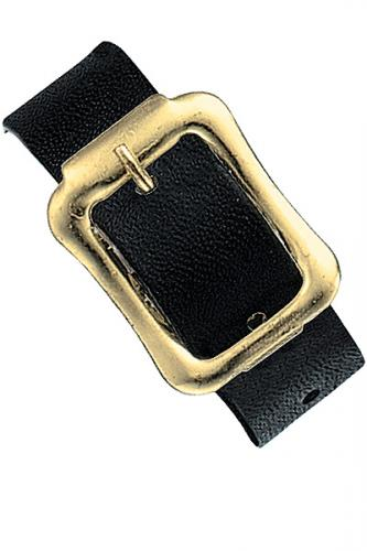 Black Executive Genuine Leather Luggage Strap with Brass-Plated Buckle, 3 Holes