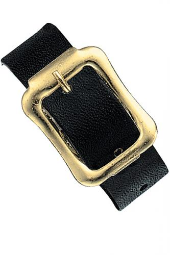 Black Executive Genuine Leather Luggage Strap with Brass-Plated Buckle, 3 Holes, 8 1/4