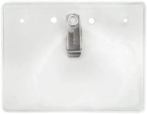 Clear Vinyl Horizontal Badge Holder with Clip