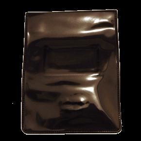 Black Vinyl Vertical Magnetic Badge Holder with Short Flap