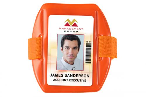 Vertical Fluorescent Orange Vinyl Holder with Orange Strap - Credit Card Size