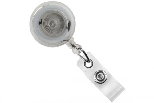 Round Badge Reel With Strap And Slide Clip (Translucent)