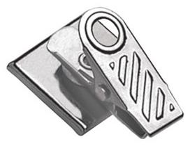 Pressure-Sensitive Nickel-Plated Clip, 1-Hole Ribbed Face