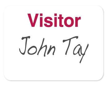 """Manual Adhesive Plain Paper Badges - """"Visitor"""" (Red)"""