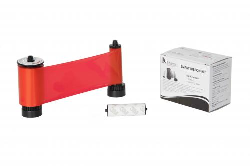 R Resin Red Ribbon with Cleaning Roller, 1200 cards/roll