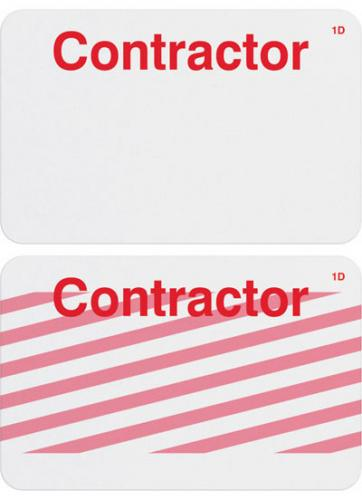 """1 7/8 X 2 7/8"""" Manual ONEstep Adhesive Expiring TIMEbadge (1-Day ) - """"CONTRACTOR"""""""