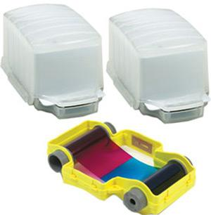 2 Qty ready-to-fill 50-card capacity dispensers for loading technology cards plus 100 shot PF2 cassette YMCKO