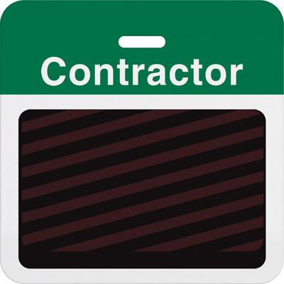 """Slotted Expiring Badge Back with Printed Green """"CONTRACTOR"""" Bar"""
