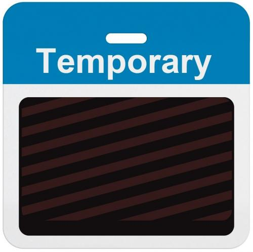"Slotted Expiring Badge Back with Printed Process Blue ""TEMPORARY"" Bar"